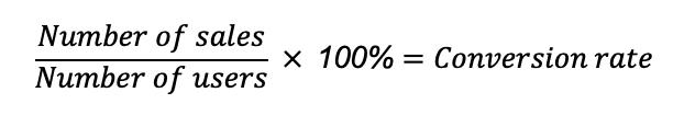 nombre de ventes / nombre d'utilisateurs * 100 = Taux de conversions